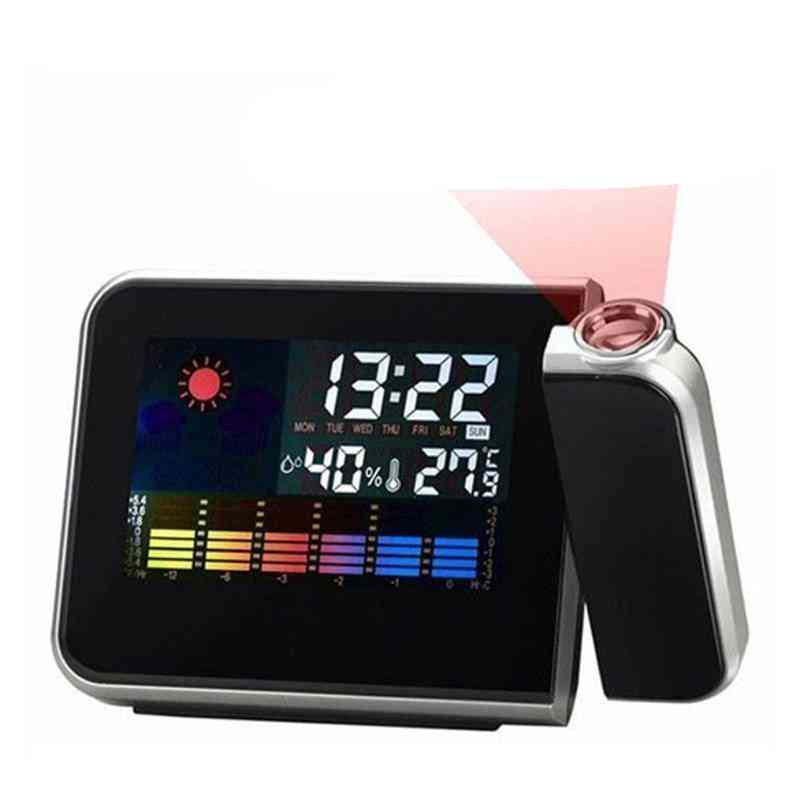 Attention Projection Digital Table Clock Weather Display Lcd Snooze