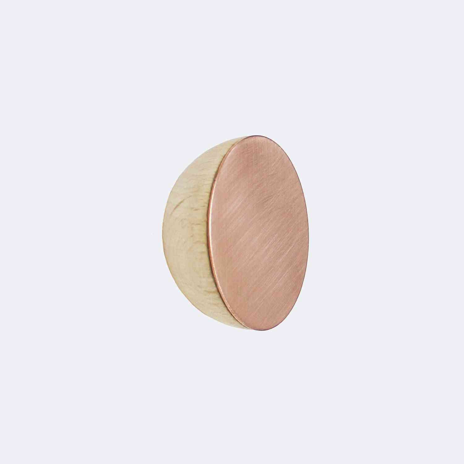 Round Beech Wood & Copper Wall Mounted Coat Hook Knob