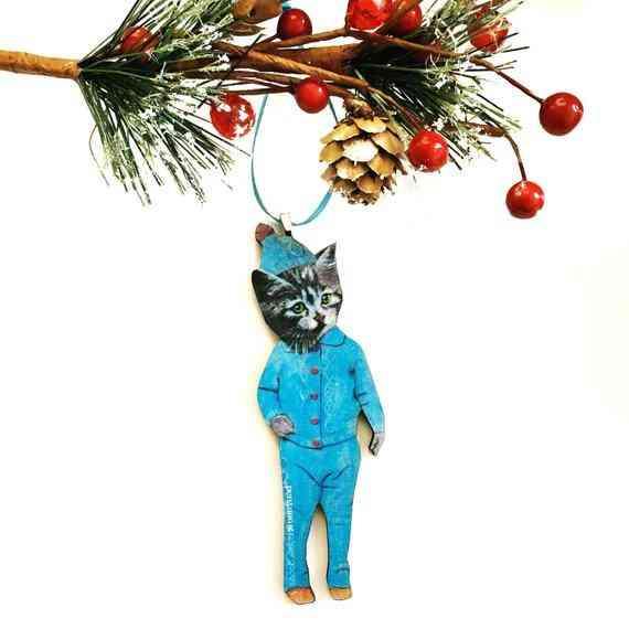 Retro Kitty Holiday Ornament