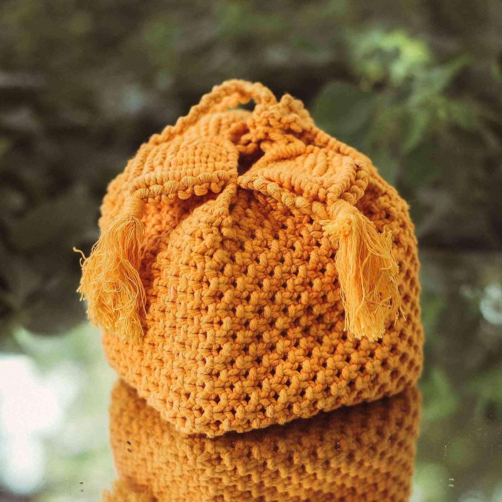 Sturdy Cotton Cord Weaving, Box Bag