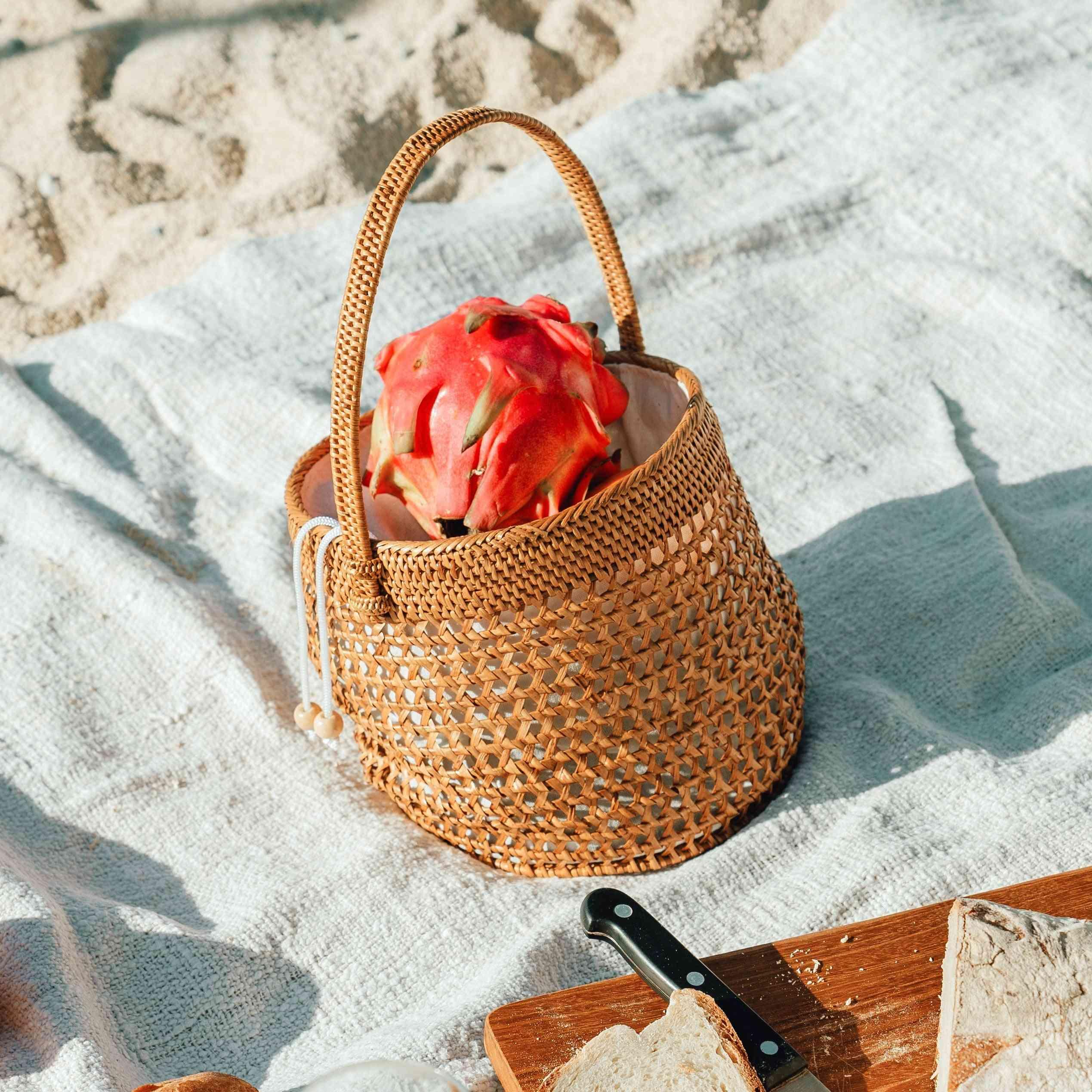 Cotton Drawstring Lining, Bucket Straw Bag