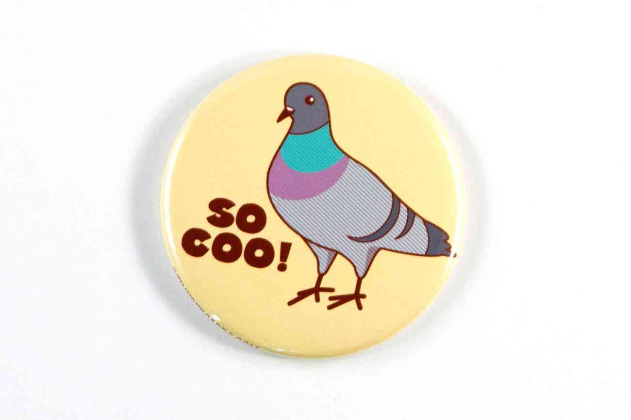 So Coo! Pigeon Printed Magnet Pin Or Pocket Mirror