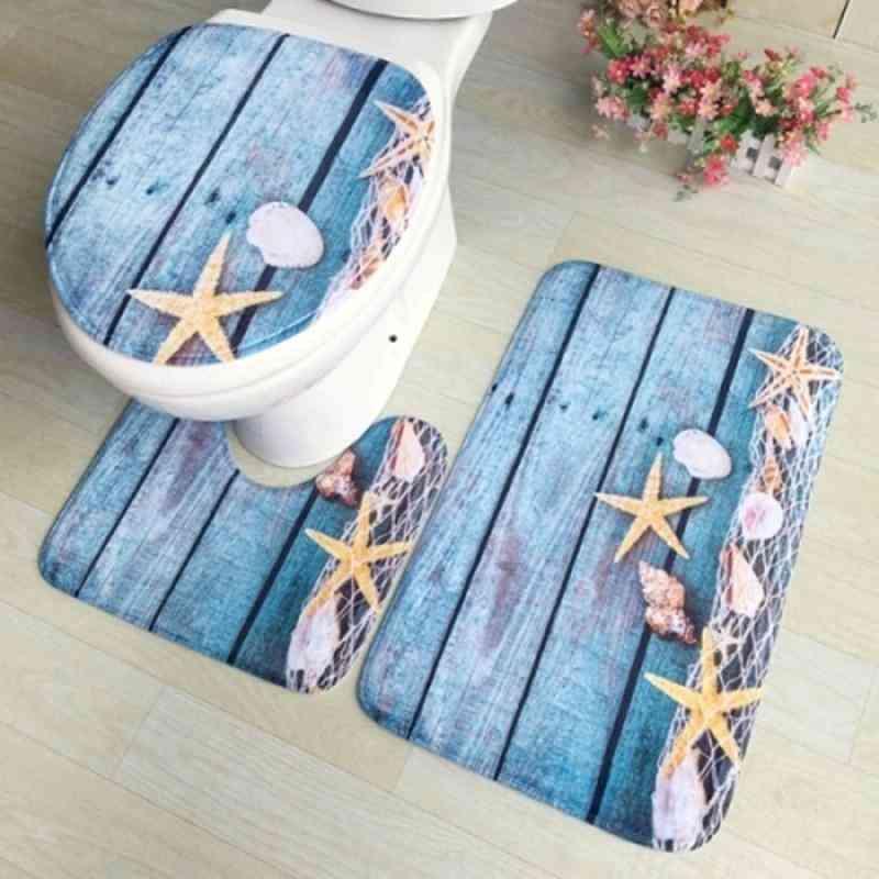 Bath Mats, Toilet Cover, Foot Pad Set