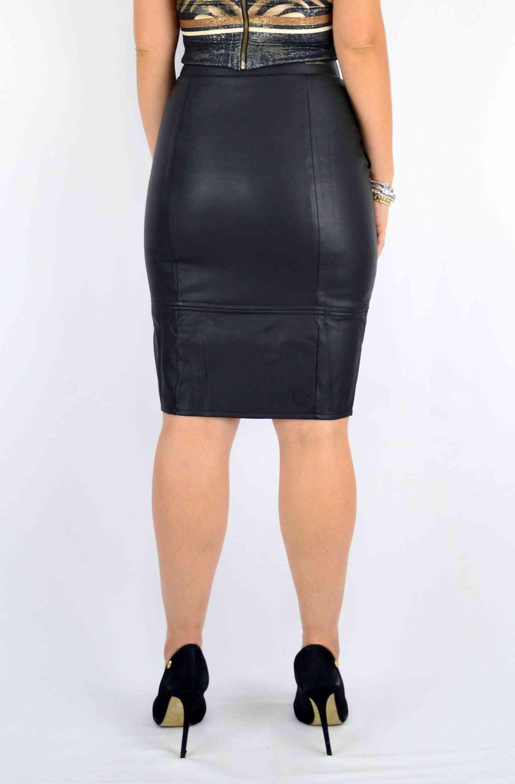 Midi Leather Skirt