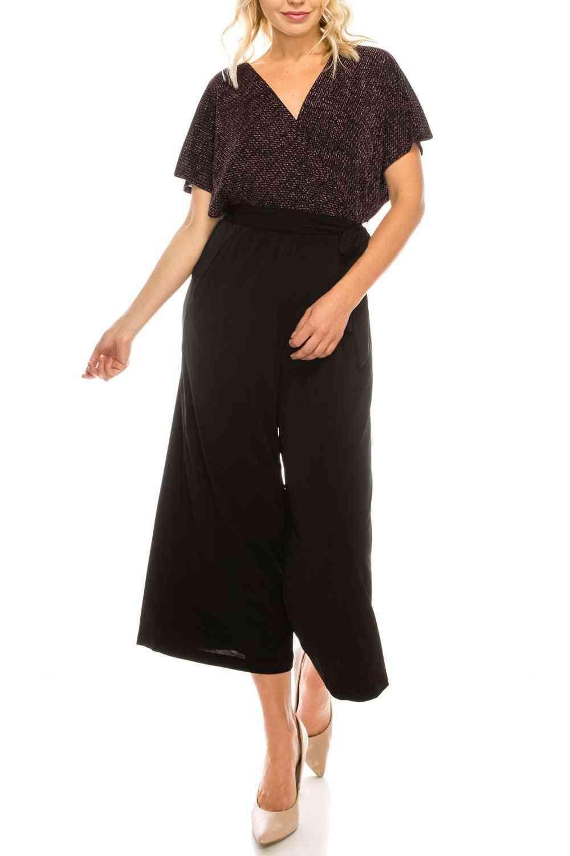 Metallic Belted Culotte Jumpsuit