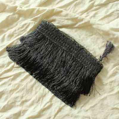 Flapper Fringe Straw Clutch Bag