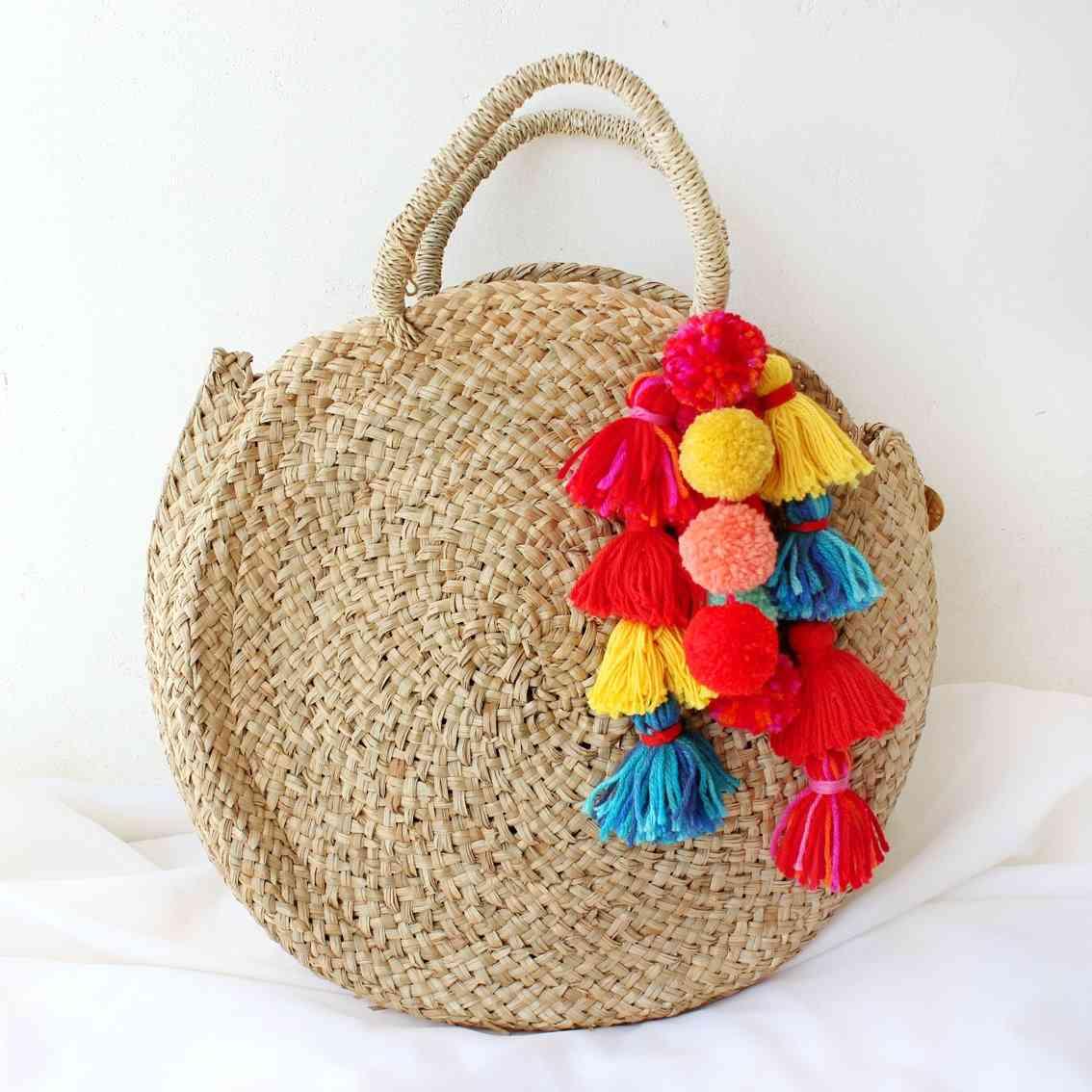 Round Straw Tote Bag With Coastal Tassels