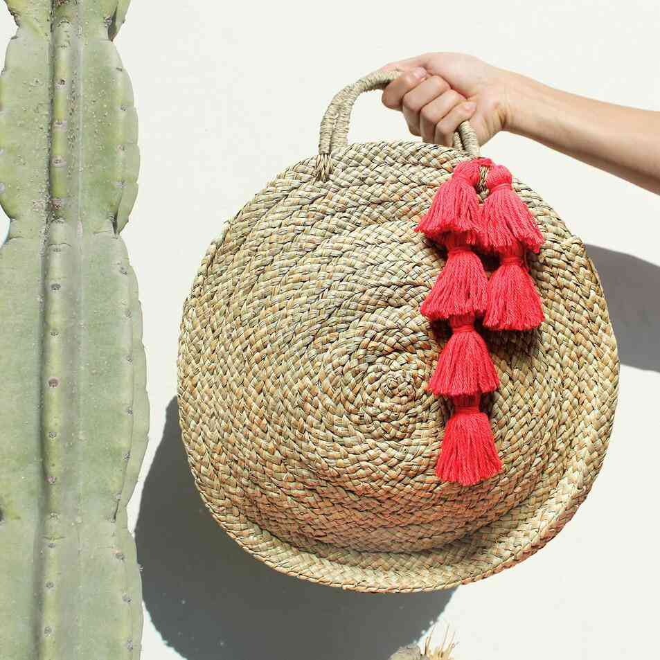 Round Straw Tote Bag With Red Tassels