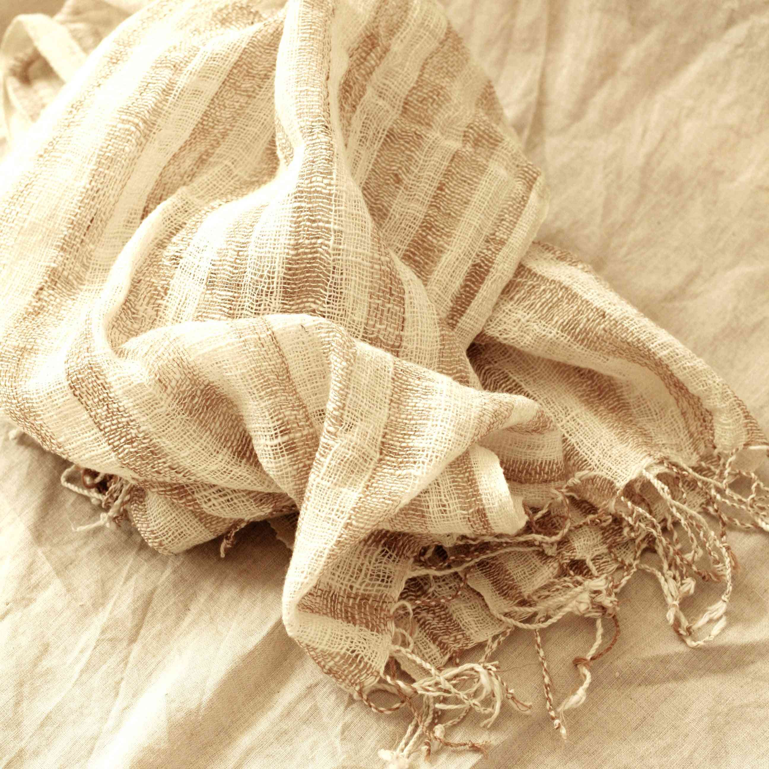 Hand-loomed Raw Cotton Scarf