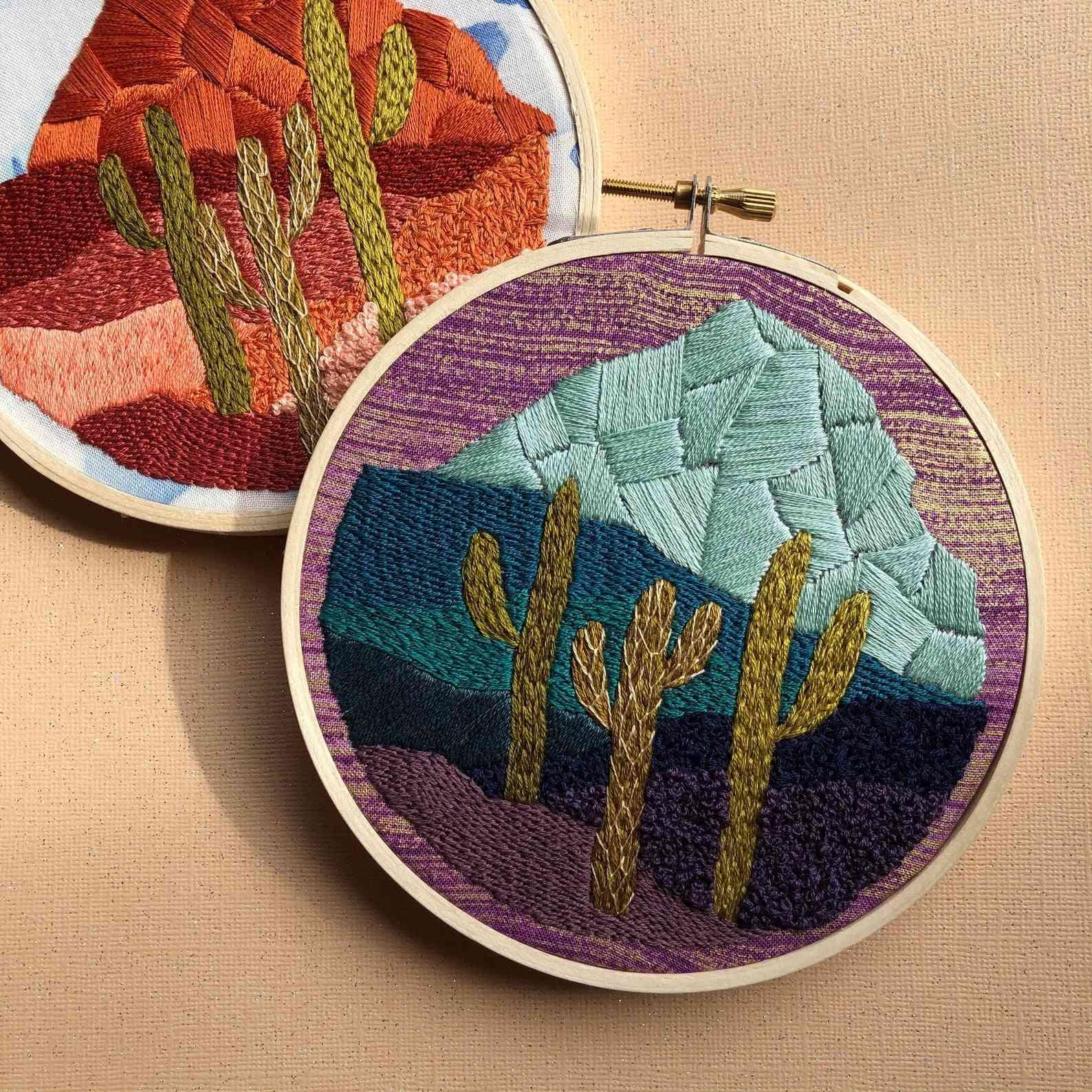Cactus Desert At Night Landscape- Diy Beginner Embroidery Kit