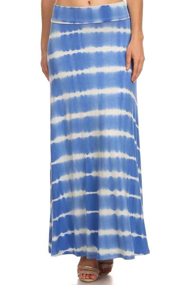 Tie Dye, Striped, Foldover Long Skirt