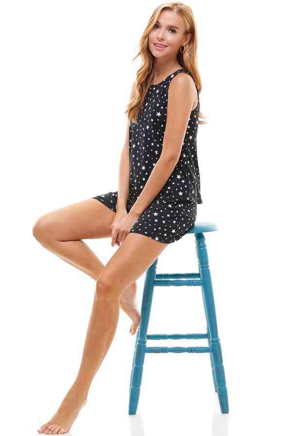 Star Print Sleeveless Top And Short-loungewear Set
