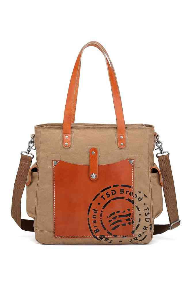 Leather Convertible Tote Bag
