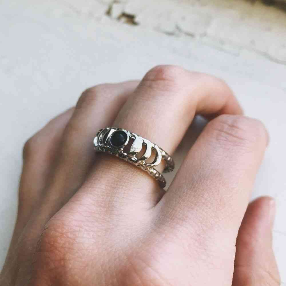 Moon Phase Ring With Balck Opel Stone