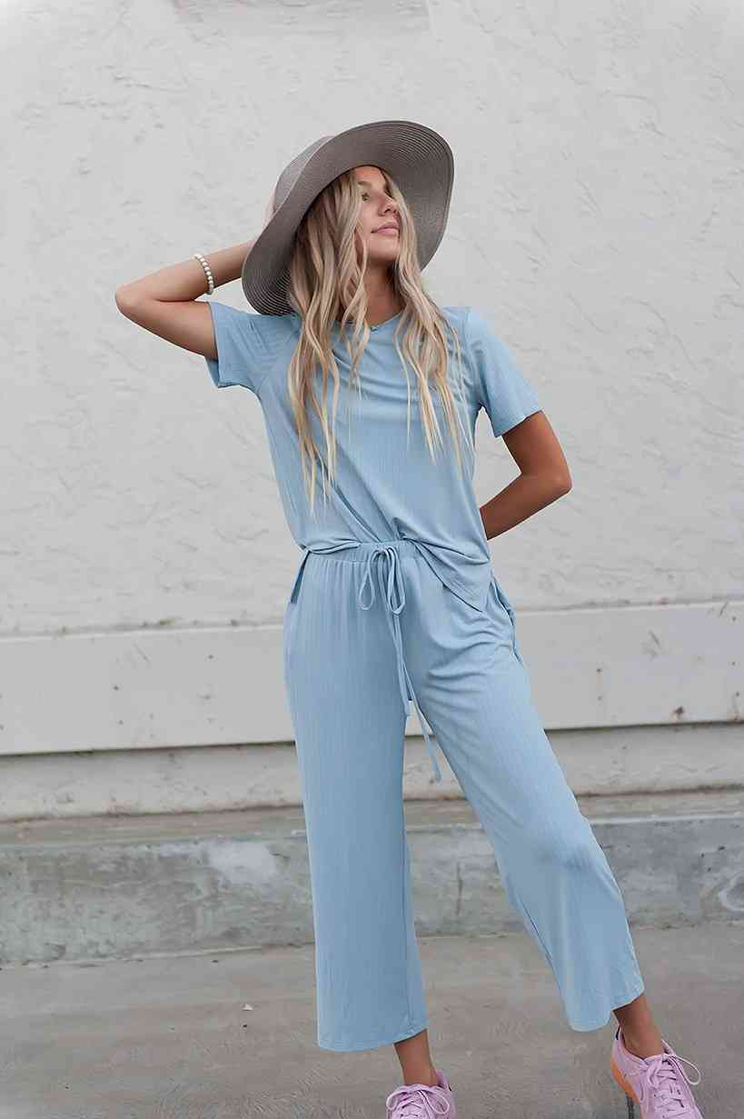 Emma Two-piece Set: Ribbed Tee & Cropped Palazzo Pants