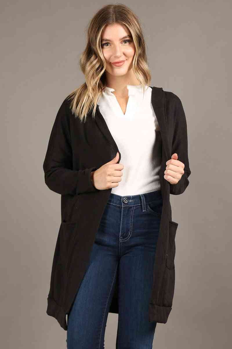 Long Body Open Cardigan Hoodie Long Sleeves Front Pockets