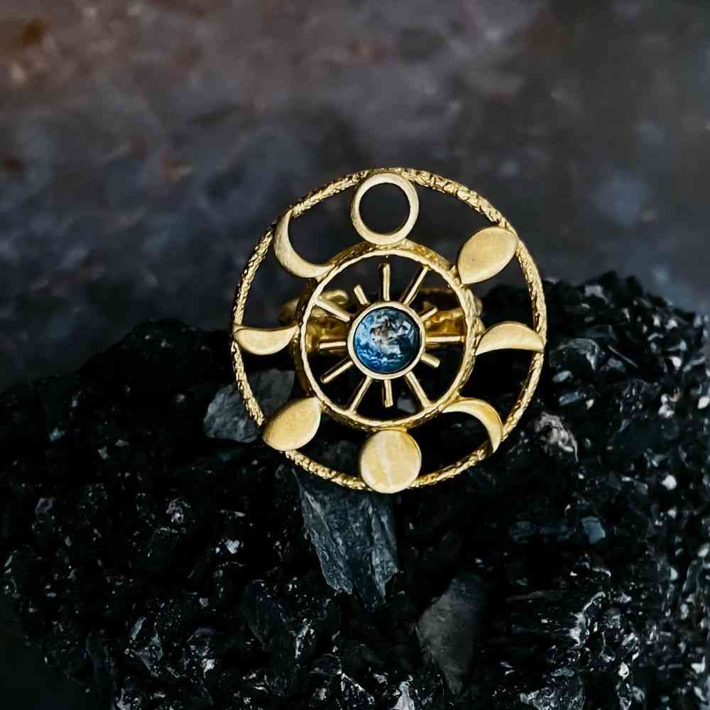 Gold Moon Phase Statement Cocktail Ring