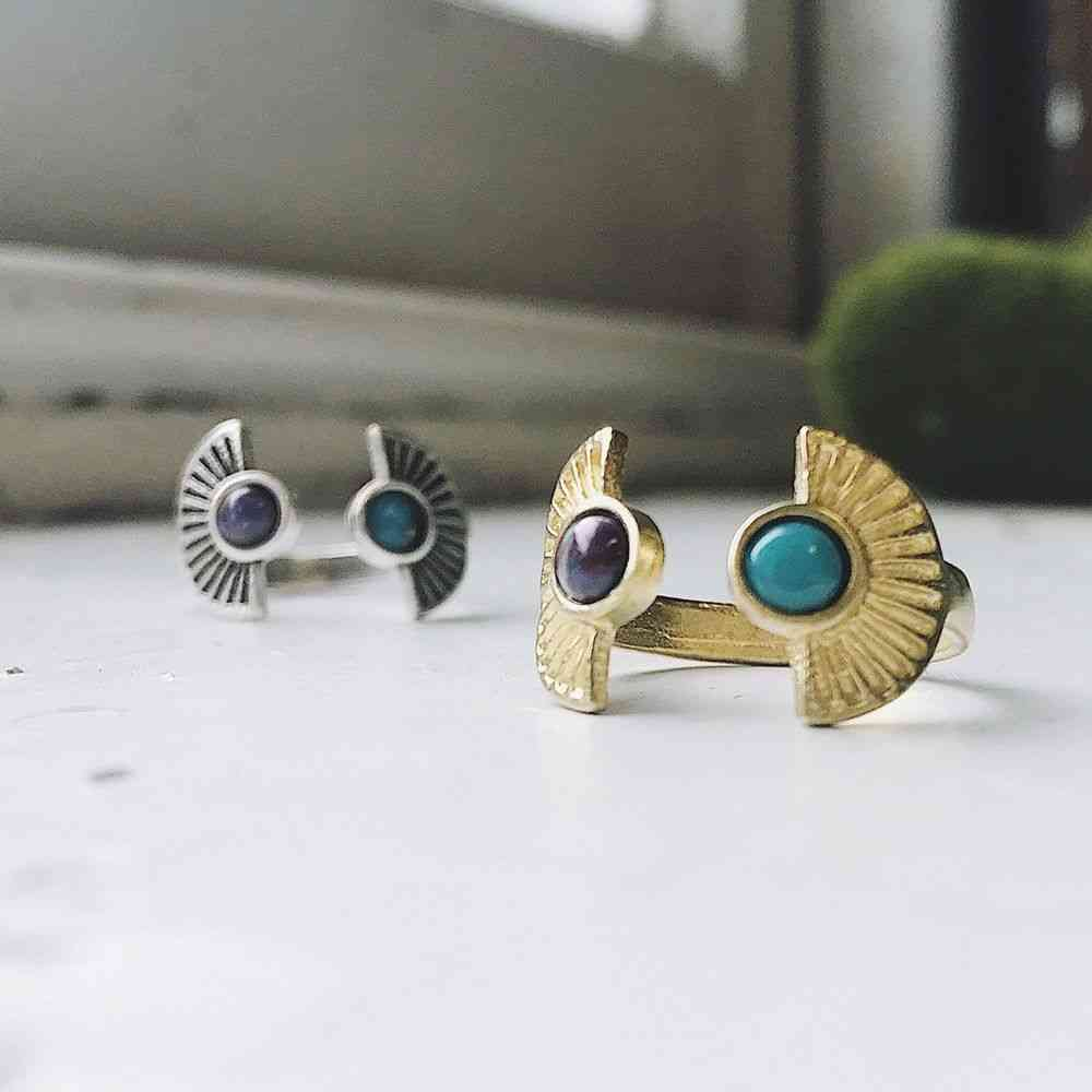 Two Stone Sunburst Ring