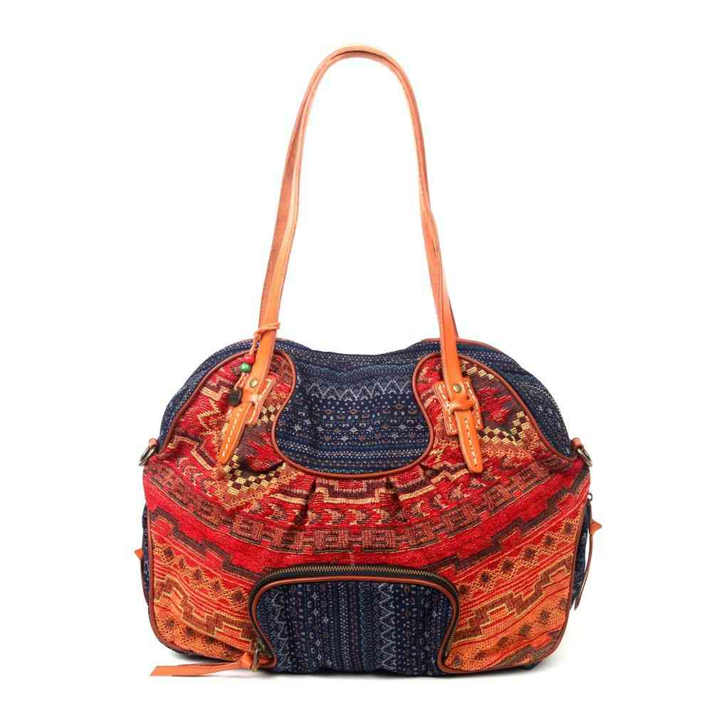 Cotton Fabric And Genuine Leather Tote Bag