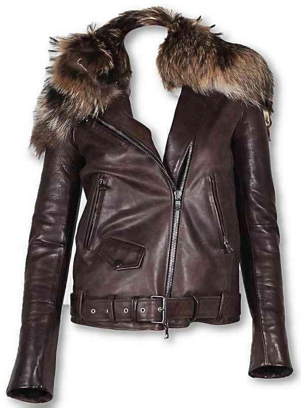 Womens Fur Collar Biker Leather Jacket