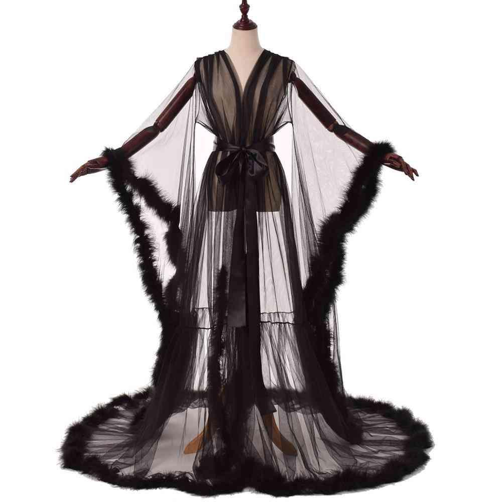 Sexy Illusion Long Lingerie Robe Nightgown Bathrobe Sleepwear Feather