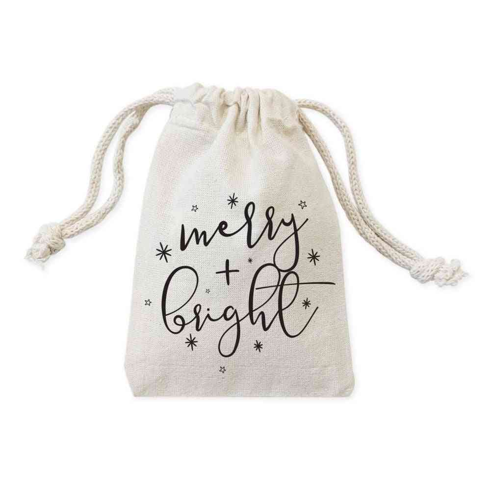 Merry And Bright Cotton Canvas Favor Bags