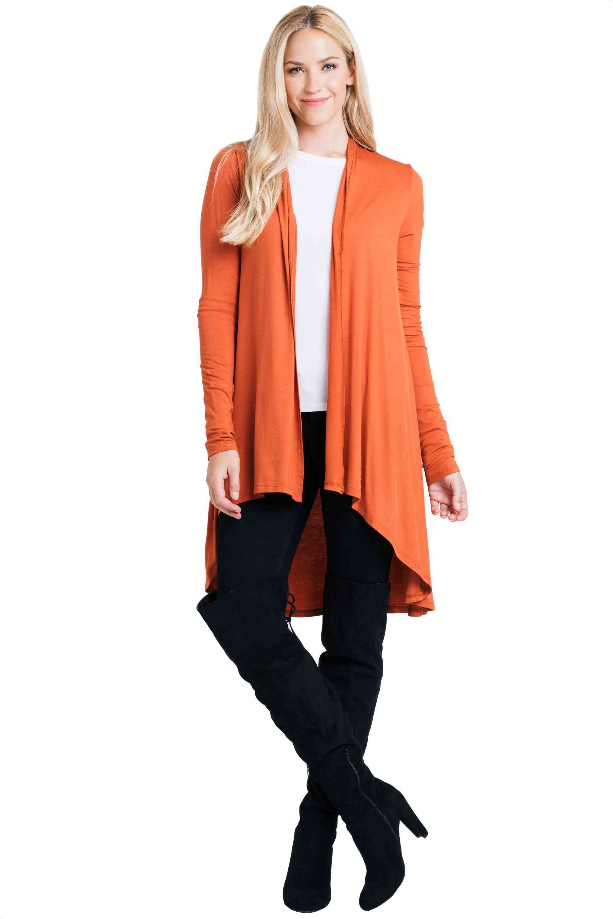 Solid Color Open Front Cardigan