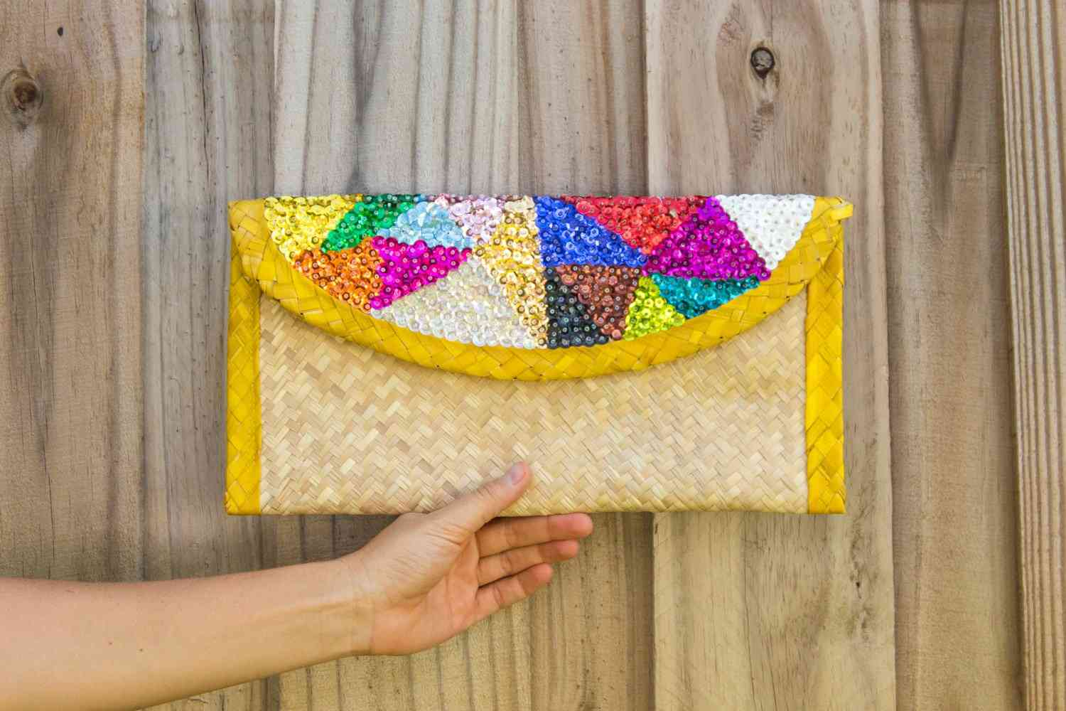 Clutch Bag With Colorful Sequin Embroidery Triangles