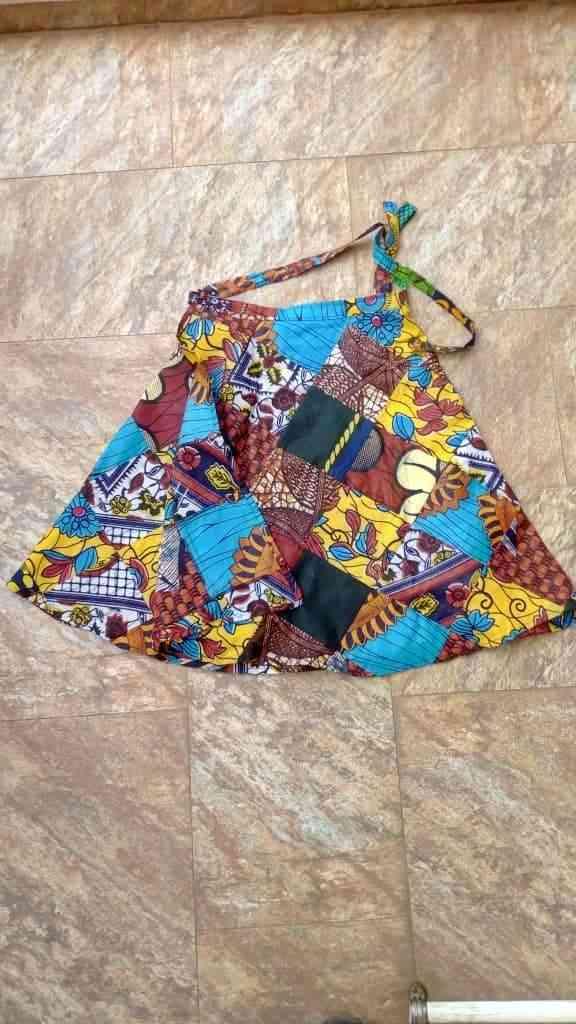 Vintage Kitenge Wrap Mini Skirt