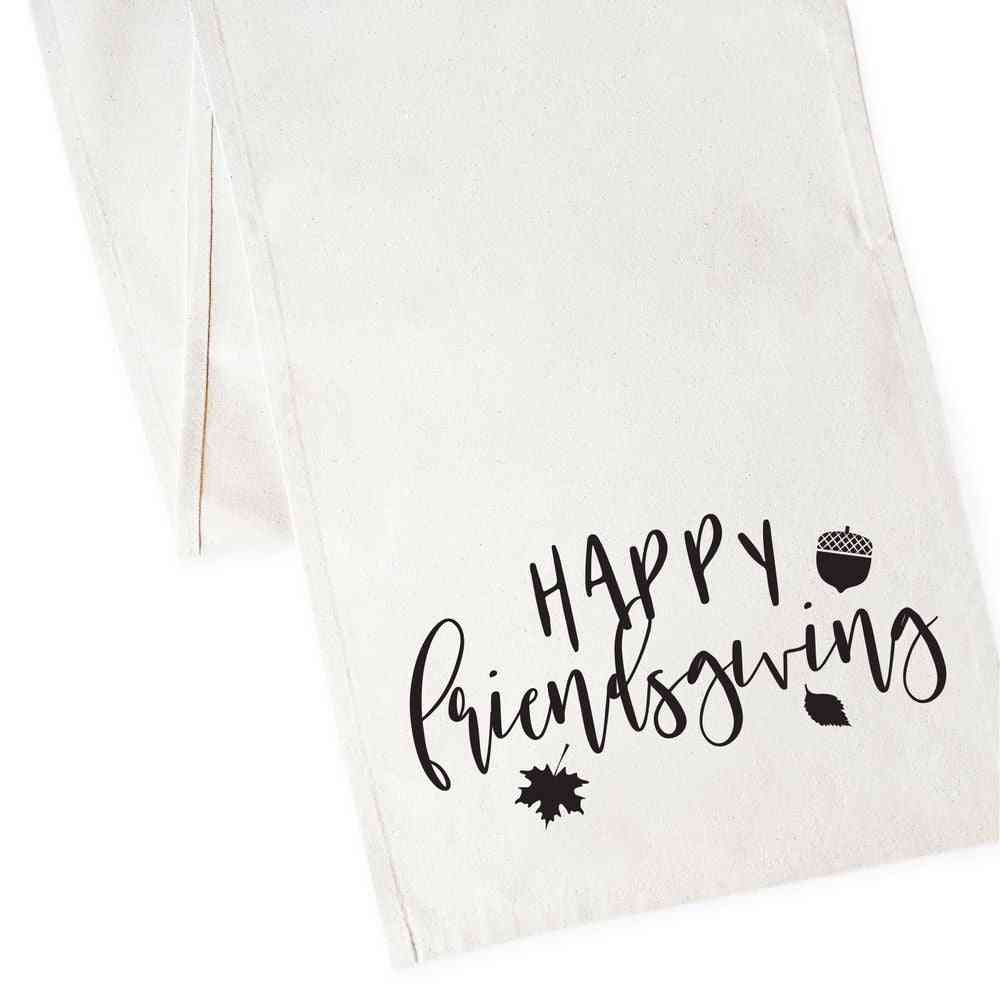 Happy Friends Giving-canvas Table Runner