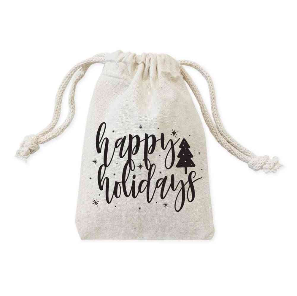 Happy Holidays-christmas Favor Drawstring Pouches