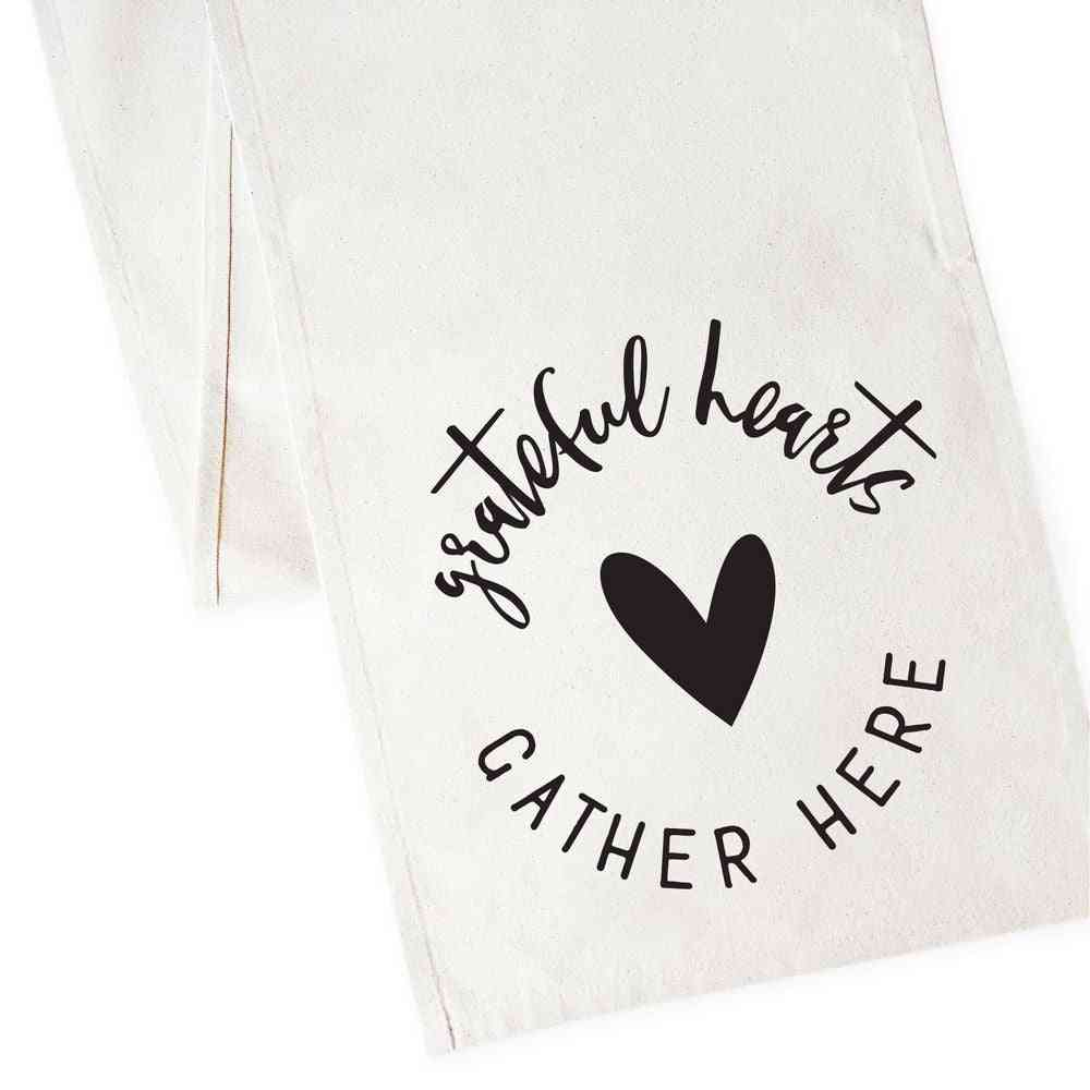 Grateful Hearts Gather Here-cotton Canvas Table Runner