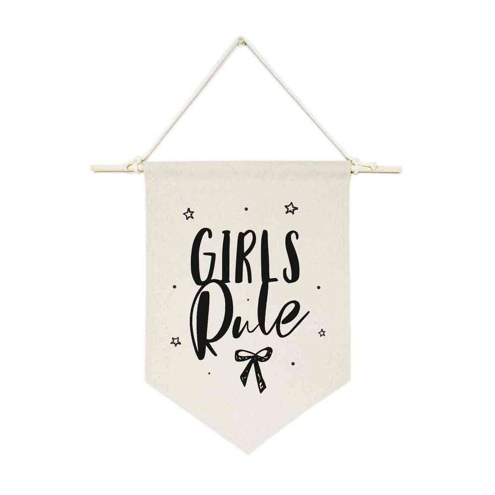 Girls Rules-hanging Wall Banner