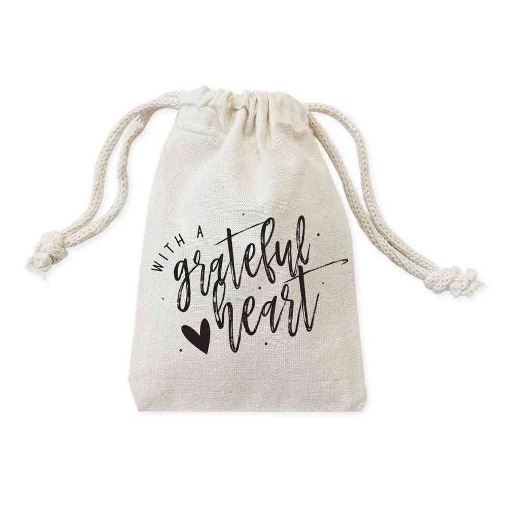 With Grateful Heart-drawstring Pouch