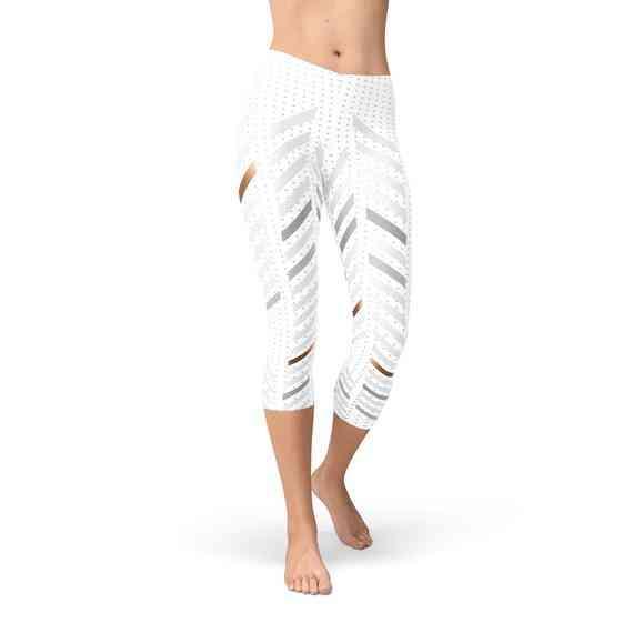 Womens Stripes Capri Leggings