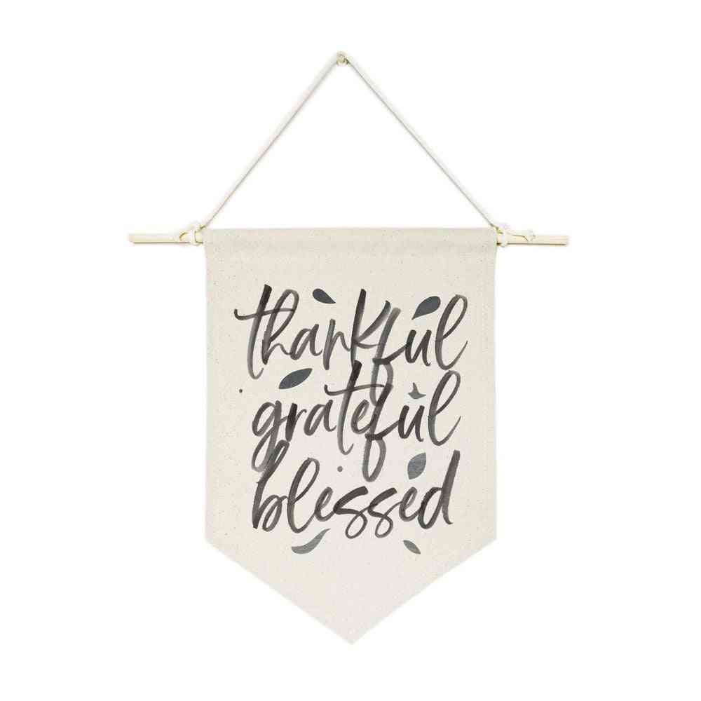 Thankful Grateful Blessed-hanging Wall Banner