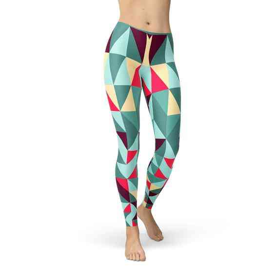 Womens Leggings Colorful Geometric Triangles