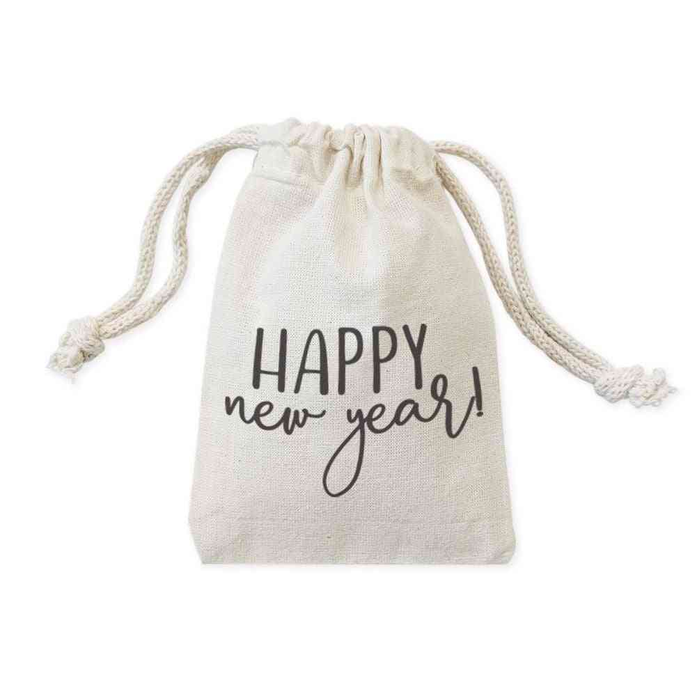 Happy New Year Cotton Canvas Pouches