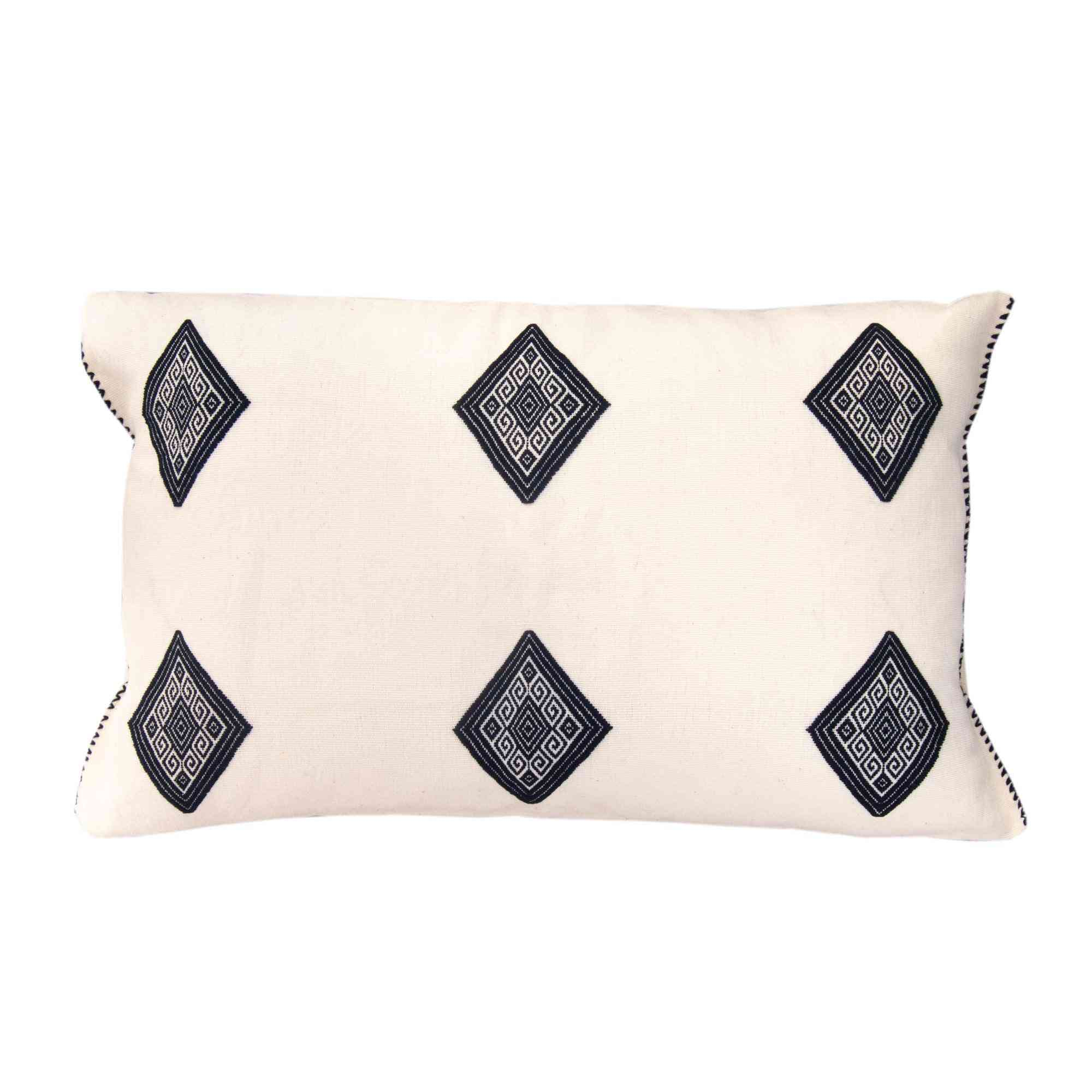 Cotton Universe Pillow With Navy Blue Brocade