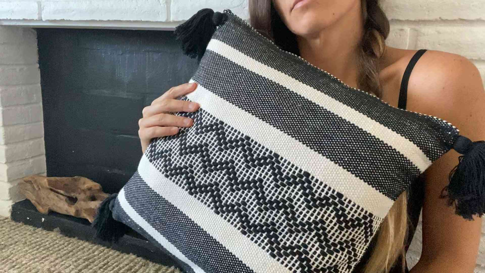 Cotton Pillow With Geometric Design