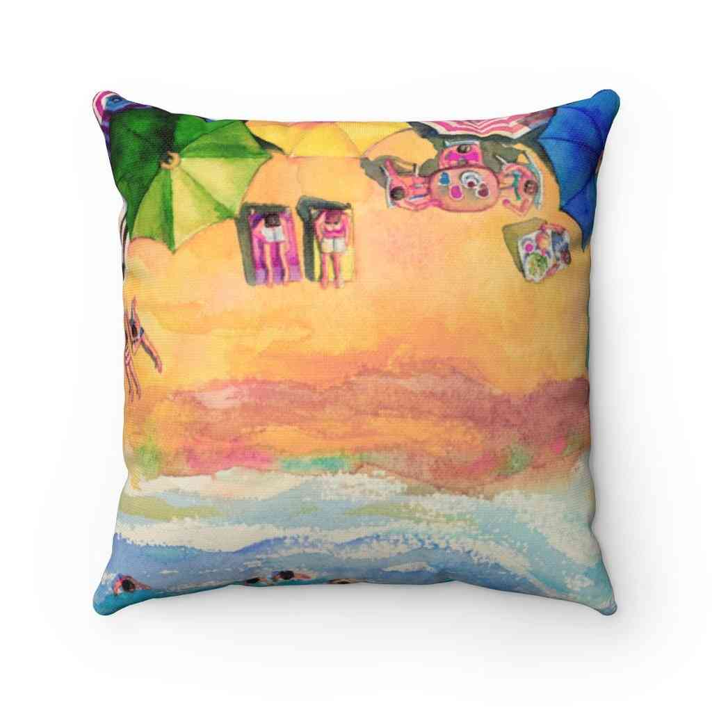 Colorful Day At The Beach Square Pillow