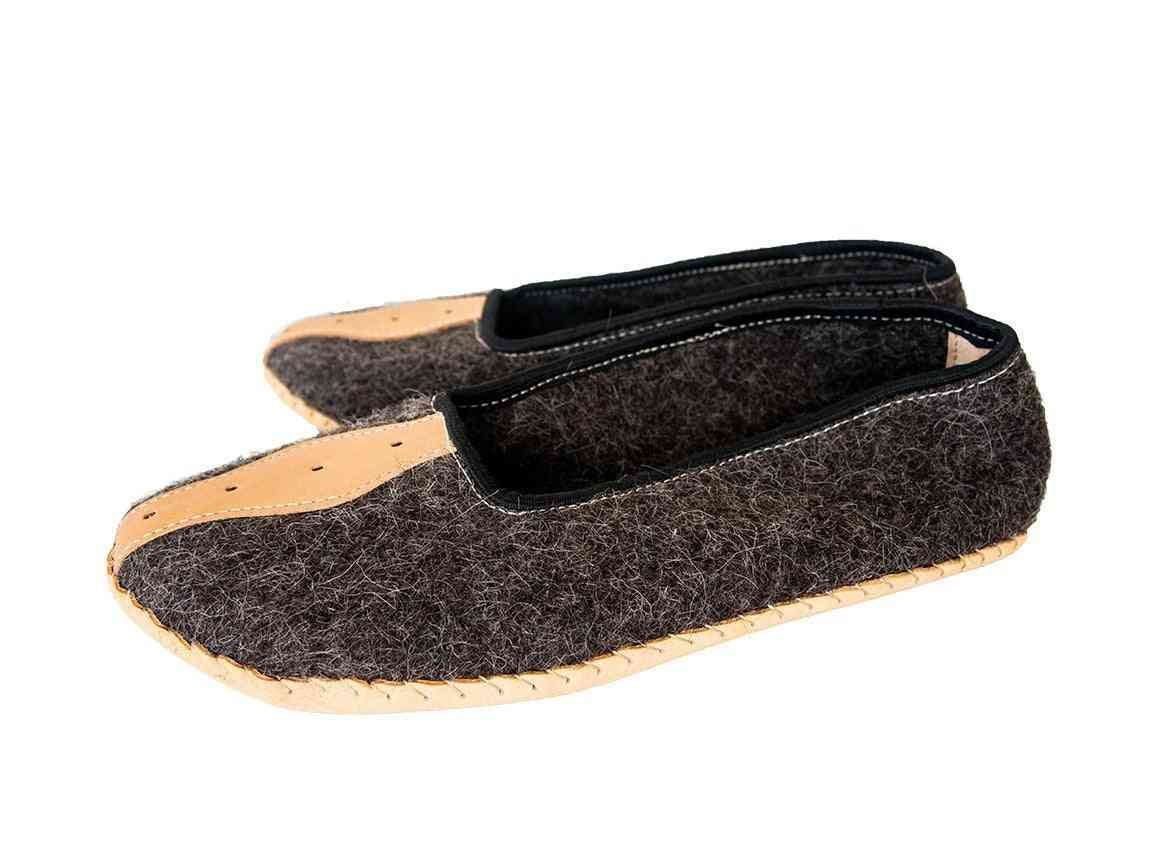 Felt And Real Leather Slippers