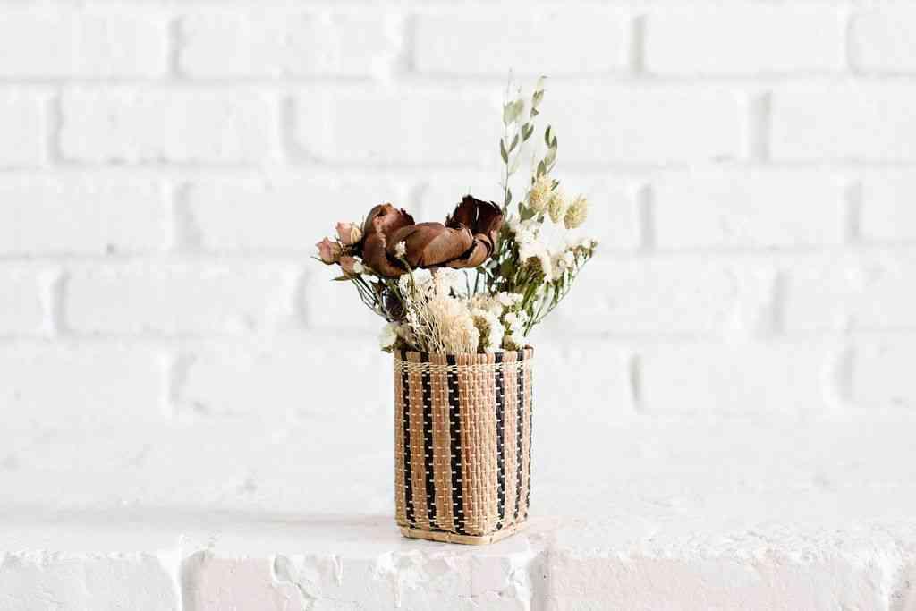 Decorative Dried Flowers In Mini Basket