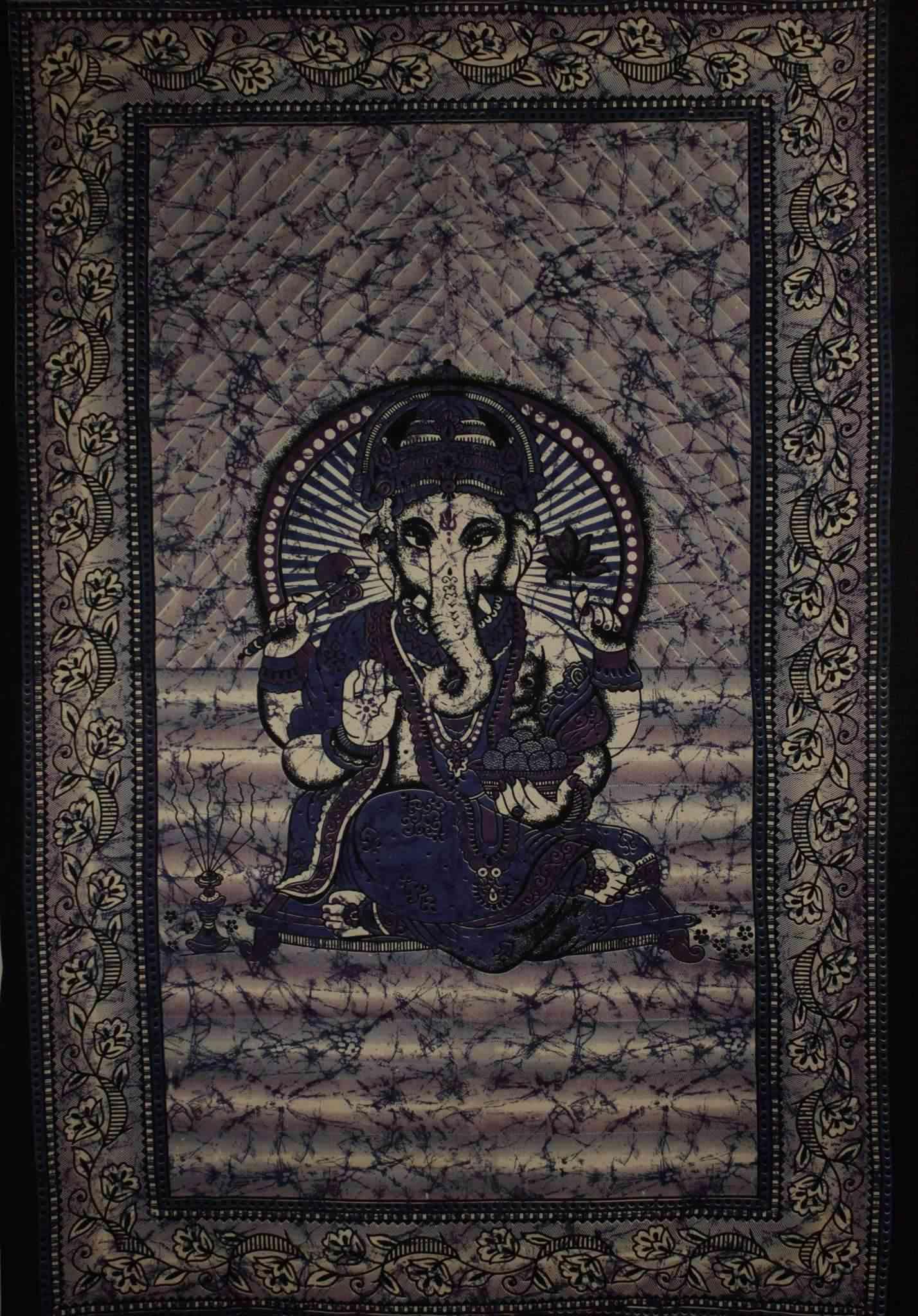 Ganesha Holding Lotus Flower In Batik Style Tapestry