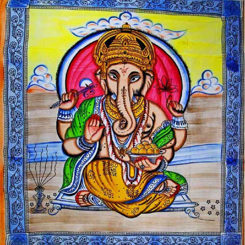 Ganesha Holding Lotus Flower In Pastels With Tassels Tapestry