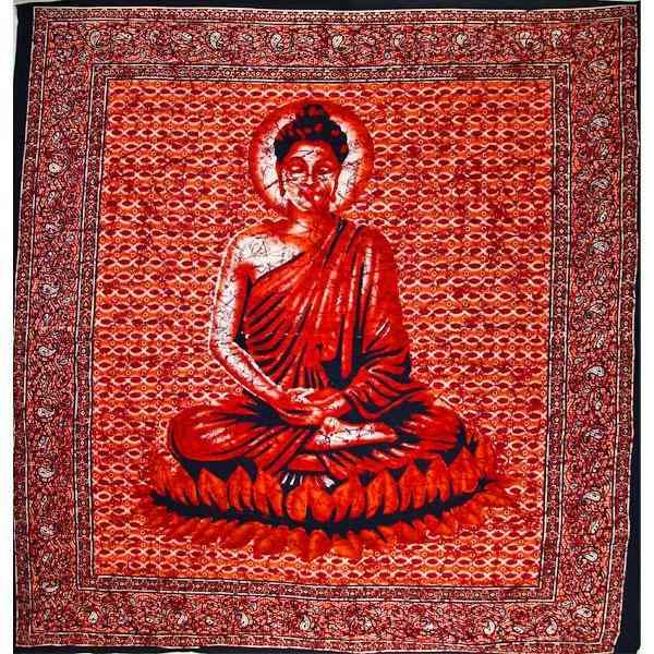 Buddha In Meditation Batik Style Tapestry