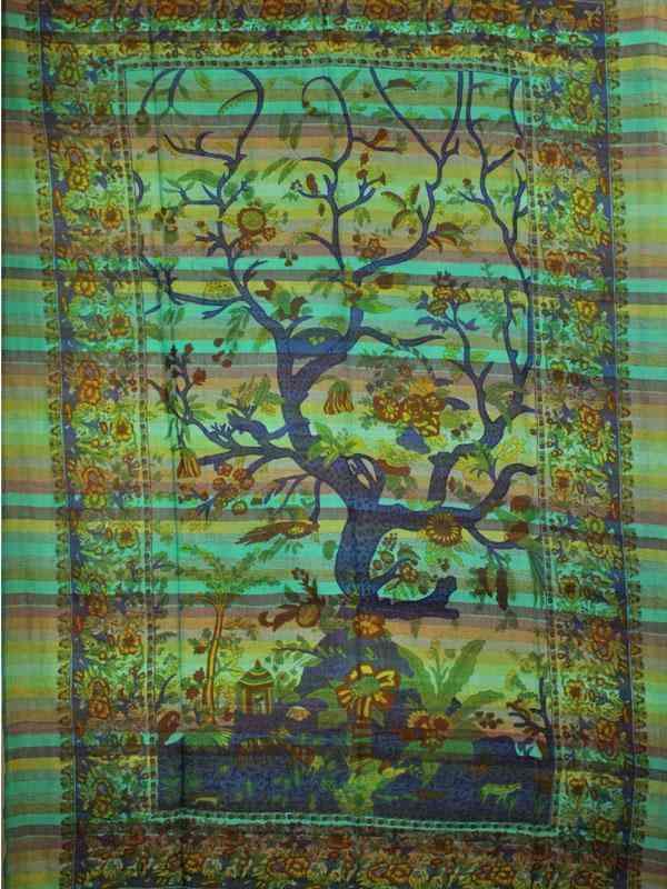 Tree Of Life Birds Art In Hand-loom Tapestry