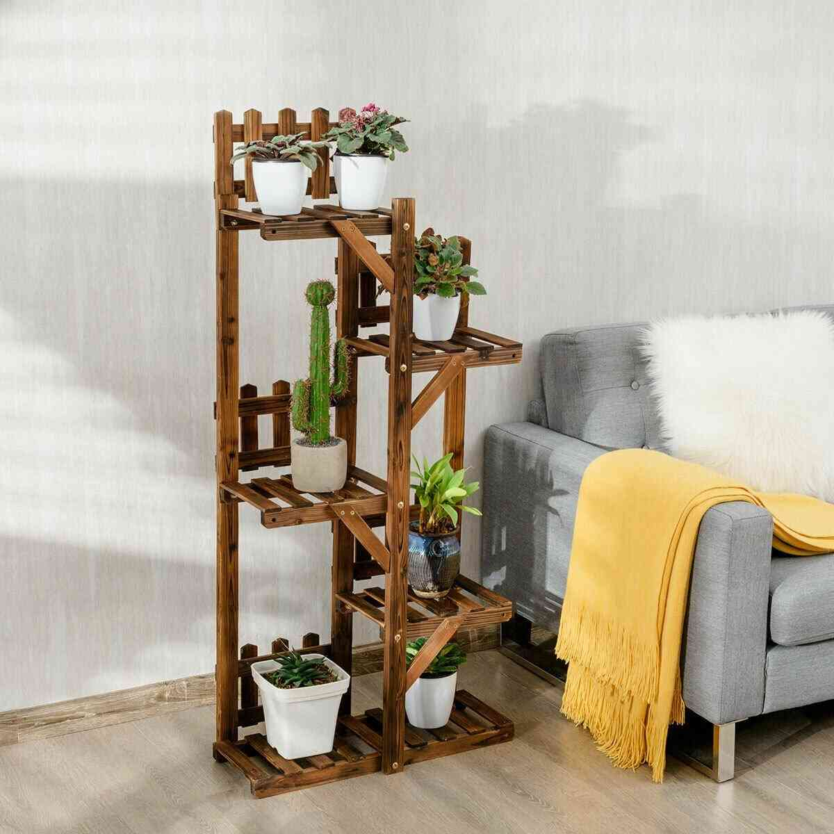 5-tier Flower Rack Wood Plant Stand