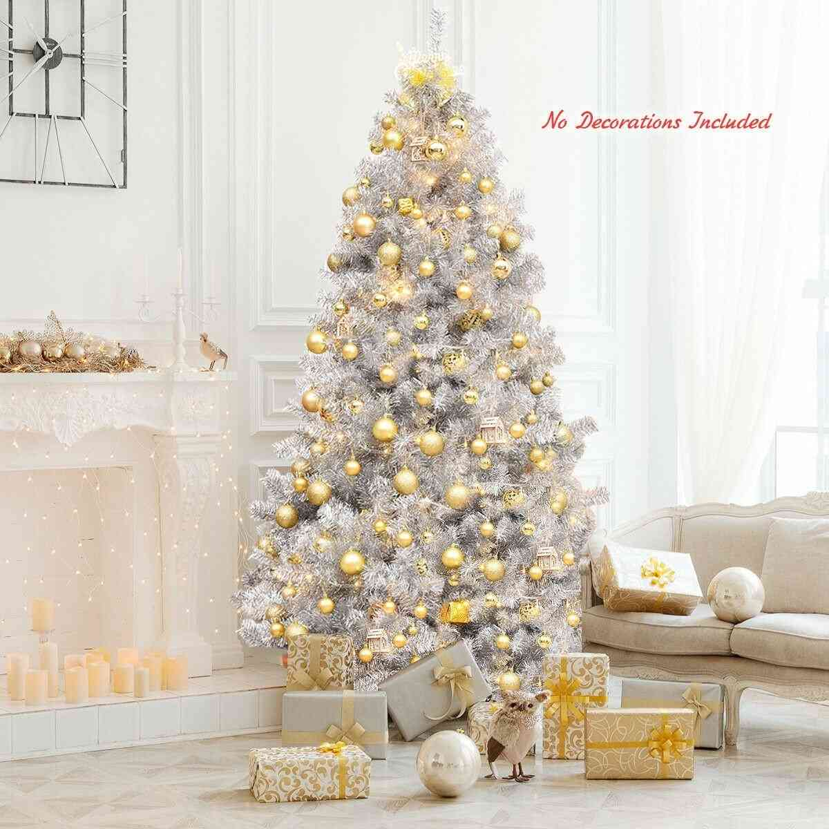 7.5ft Hinged Unlit Artificial Shiny Tinsel Christmas Tree