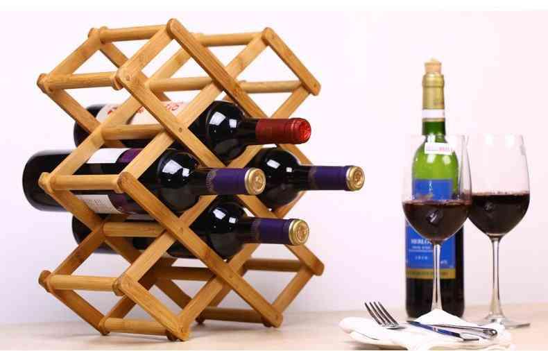 Foldable Bamboo Wine Bottle Holder